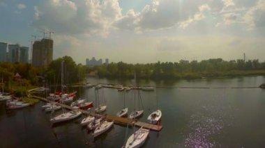 Panorama of small marina — Stock Video