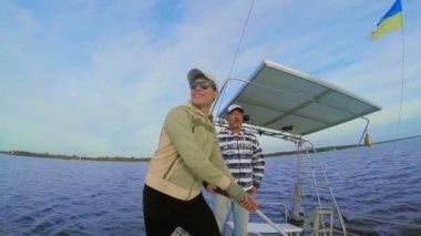 Men on sailing yacht — Stock Video
