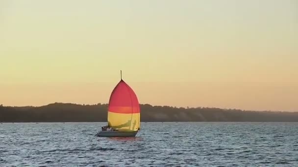 Sailing yacht in open sea — Vídeo de stock