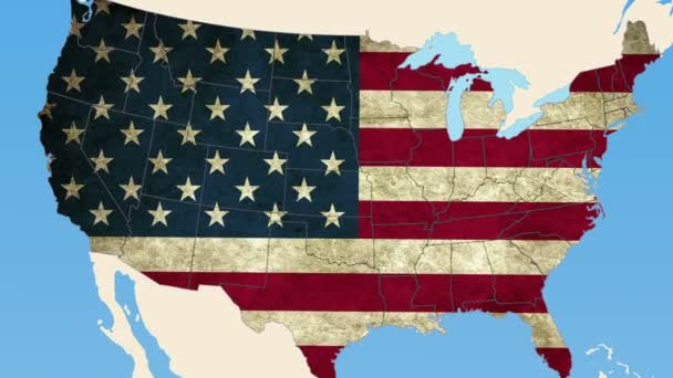 Estado de Kansas en el mapa de Estados Unidos — Vídeo de stock