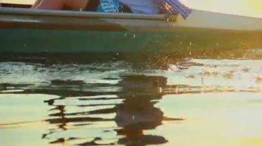 Man paddling boat — Stock Video