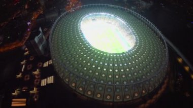 Night city and large stadium — Video Stock