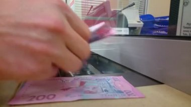 Male hands counting paper money, making payment at bank — Stock Video