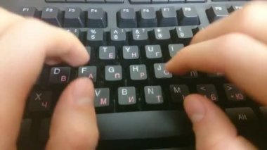 Hands typing on black keyboard, sending business e-mail, message — Stock Video