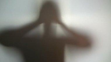Strange dark silhouette, desperate person, paranormal phenomenon — Stock Video