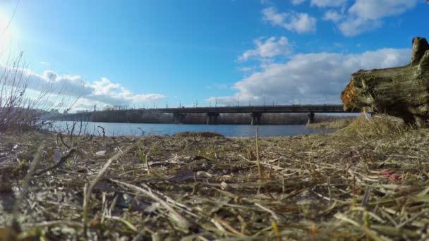 View on big city across river, traffic on bridge, daylight — Vídeo de stock