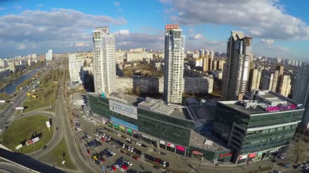 Aerial view of residential district in big city, tall buildings — Vidéo
