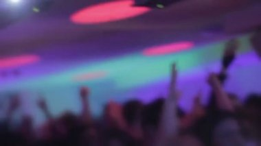 Music driving people crazy at nightclub, hands in air, euphoria — Stock Video