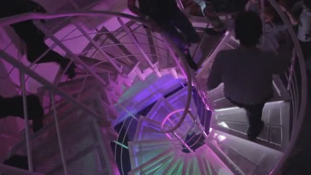 Guests entering, leaving nightclub, movement on stairs — Vidéo