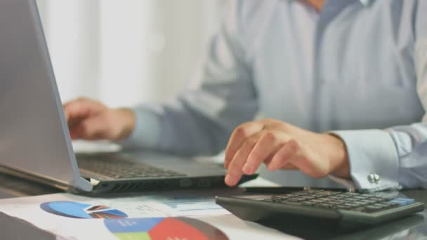 Accountant calculating, inserting data in report, business plan — Vidéo