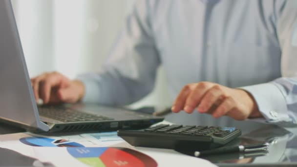 Bookkeeper inserting  data in file on laptop, phone call — Vidéo