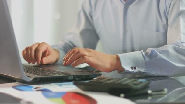 Office employee working on laptop, inserting data, business plan — Vidéo