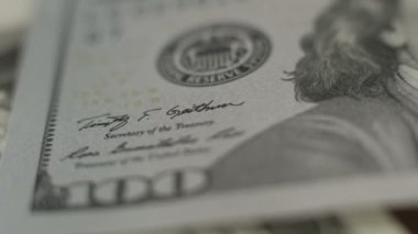 Close look at U.S. one hundred-dollar note, American paper money — Stock Video