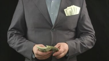 Businessman counting dollars. Success, money, career, startup — Stock Video