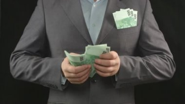 Male hands counting euros. Money, wealth, investment, business — Vídeo stock