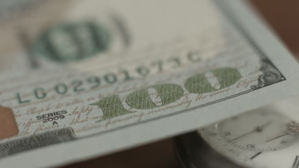 New 100 dollar bill U.S. paper money closeup, counterfeit note — Vídeo de stock