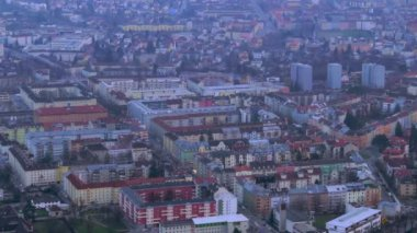 Aerial shot of evening megalopolis, intensive traffic time lapse — Stock Video