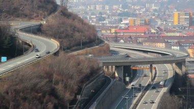 Multi-level junction for intensive traffic in modern big city — Stock Video
