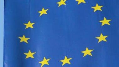 EU, European Union flag waving at summit meeting in Brussels — Stock Video