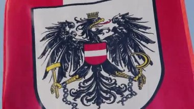 Austrian flag with coat of arms, national emblem waving in wind — Stock Video