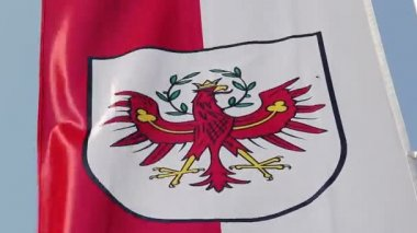 Flag with Tyrol coat of arms waving in wind, state of Austria — Stock Video