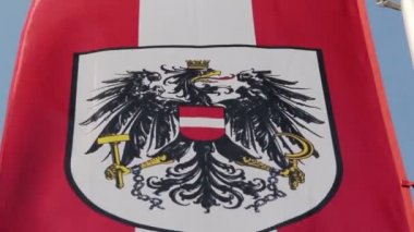 Austrian flag with national emblem, symbol waving slowly in wind — Stock Video