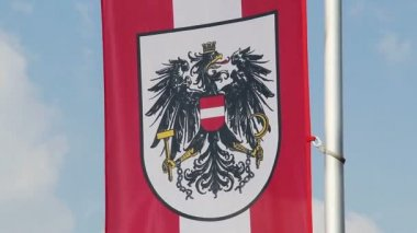 Austrian flag with coat of arms waving in wind, sky background — Stock Video