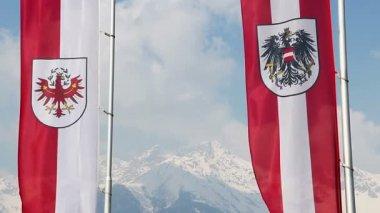 Tyrol, Austrian flags waving, majestic snowy Alps on background — Stock Video