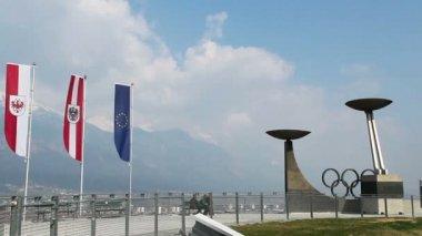 Olympic ski jump training center in Innsbruck, Austrian Alps — Stock Video