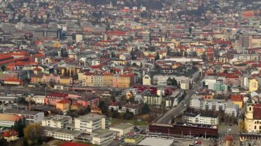 Calm western European town, Austrian Innsbruck city, aerial view — Stock Video