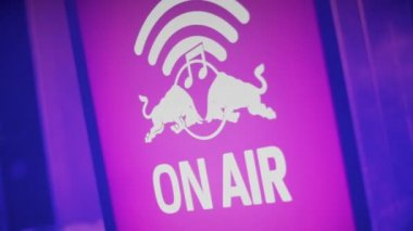 On Air warning sign at sound recording studio, radio, tv station — Stock Video
