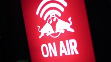 Microphone, television, radio program broadcast on, warning sign — Stock Video