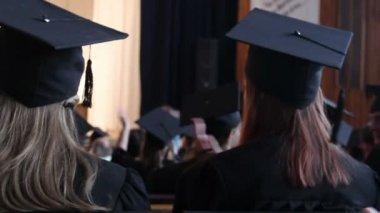 University students applauding to congratulate senior professor on retirement — Stock Video