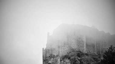 Black and white thriller movie. Ancient stone building full of terrible ghosts — Stock Video