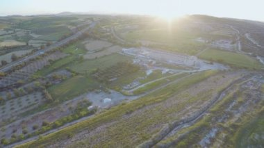 Top view of fruit gardens, crop fields, amazing green landscape. Aerial panorama — Stock Video