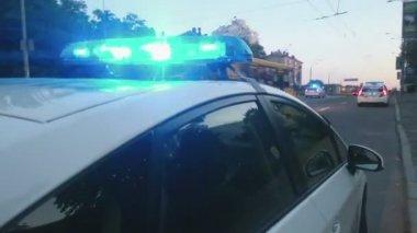 Closeup blue flashing police lights on top of patrol car, crime scene, emergency — Wideo stockowe