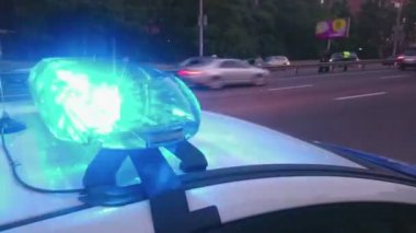 Closeup blinking strobe lights on police car, blue lightbar, emergency situation — Stock Video