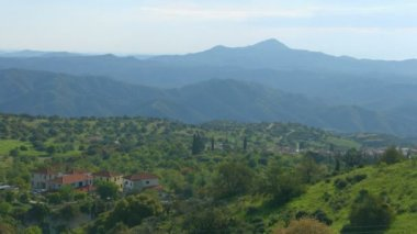 Horizontal panorama of village in Troodos Mountains, Cyprus. Beautiful landscape — Stock Video
