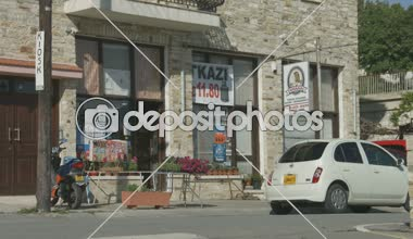 Street view in little mountain village, Cyprus. Grocery store. Vacation, tourism — Stock Video