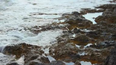 Tide waves on rocky shore, calm stony coastline, tranquil landscape, meditation — Stock Video