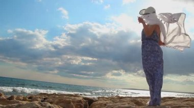 Silhueta feminina romântica na praia ensolarada, imagem de feminilidade macia, vento soprando — Vídeo stock