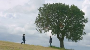 Young couple hugging and kissing under big green tree, eternal love forever — Stock Video