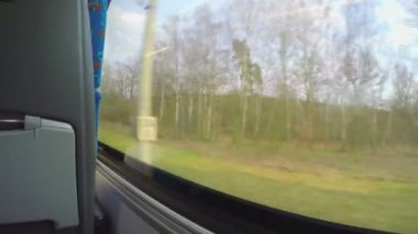 Point of view of passenger traveling by bus, looking outside through window — Stock Video