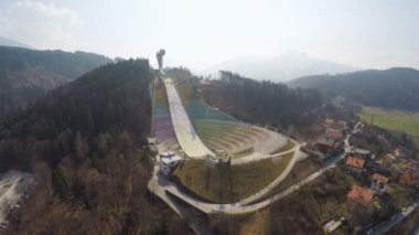 Empty modern Bergisel ski jump training center during low season, no people — Stock Video