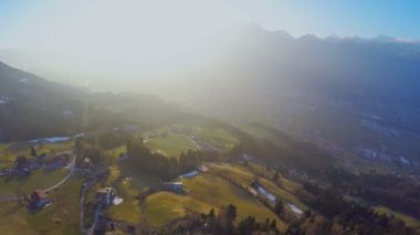 Beautiful sunrise in mountains, green valley, magic hour, fairy tale atmosphere — Stock Video
