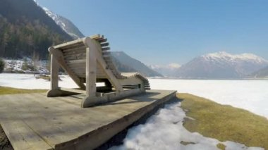 Aerial view, desert national park territory covered with snow filmed with drone — Stock Video