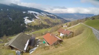 Aerial shot of private household, small farm in Austrian Alps, amazing top view — Stock Video