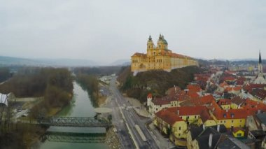 Aerial view of Melk Abbey, beautiful baroque architecture, old European city — Stock Video