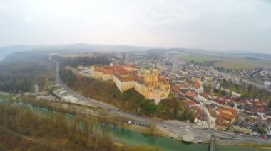 Aerial view of Melk Abbey in Austria and the River Danube. Winter, cold weather — Stock Video