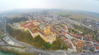 Benedictine abbey atop town of Melk, Austria. River Danube. View from above — Stock Video
